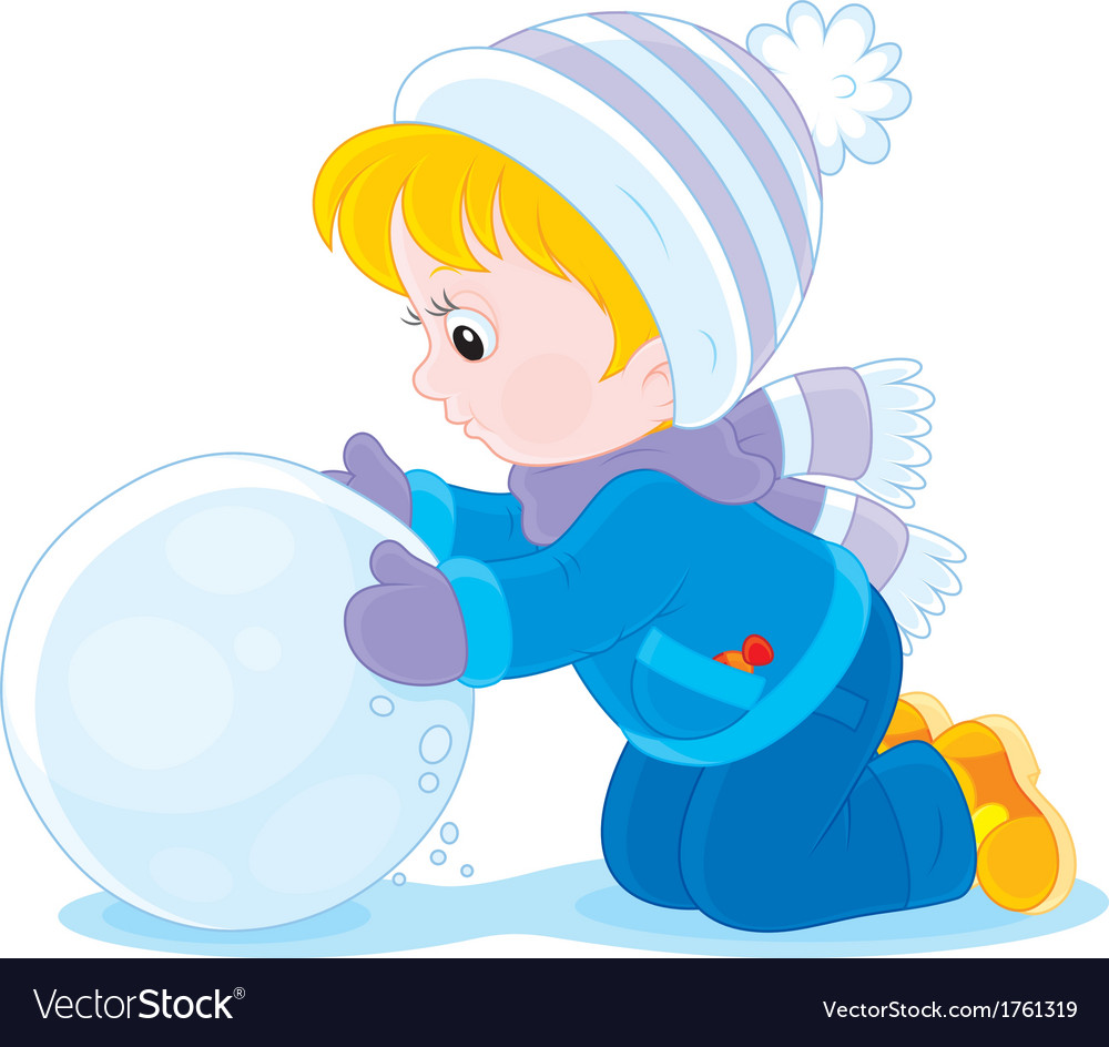 Child with a snowball vector | Price: 1 Credit (USD $1)