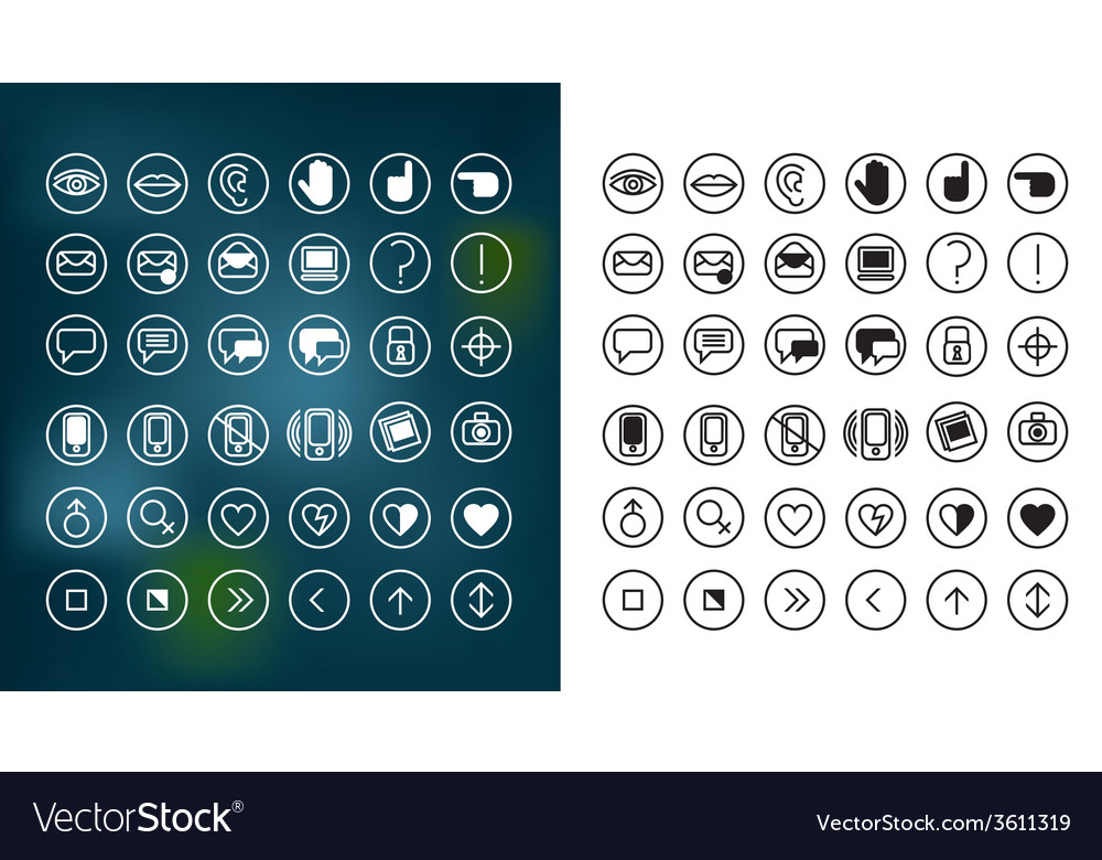Communication icons set 1 notext vector | Price: 1 Credit (USD $1)