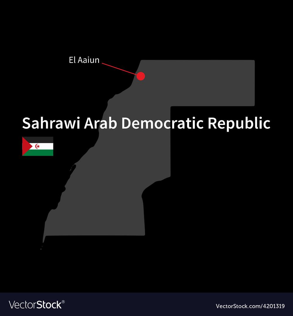 Detailed map of sahrawi arab democratic republic vector | Price: 1 Credit (USD $1)