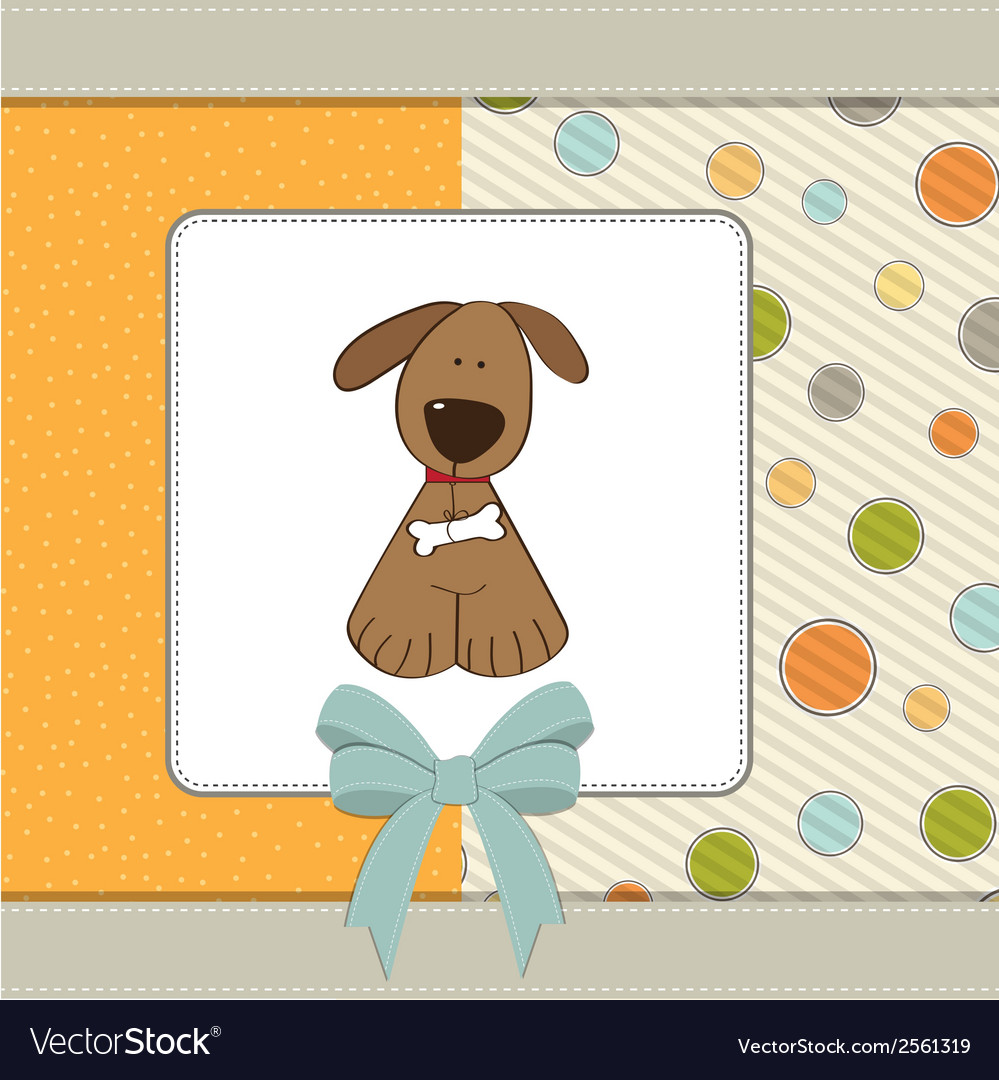 Greeting card with small dog vector   Price: 1 Credit (USD $1)