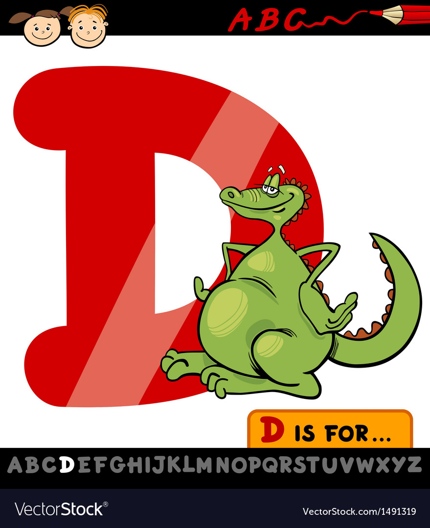 Letter d with dragon cartoon vector | Price: 1 Credit (USD $1)