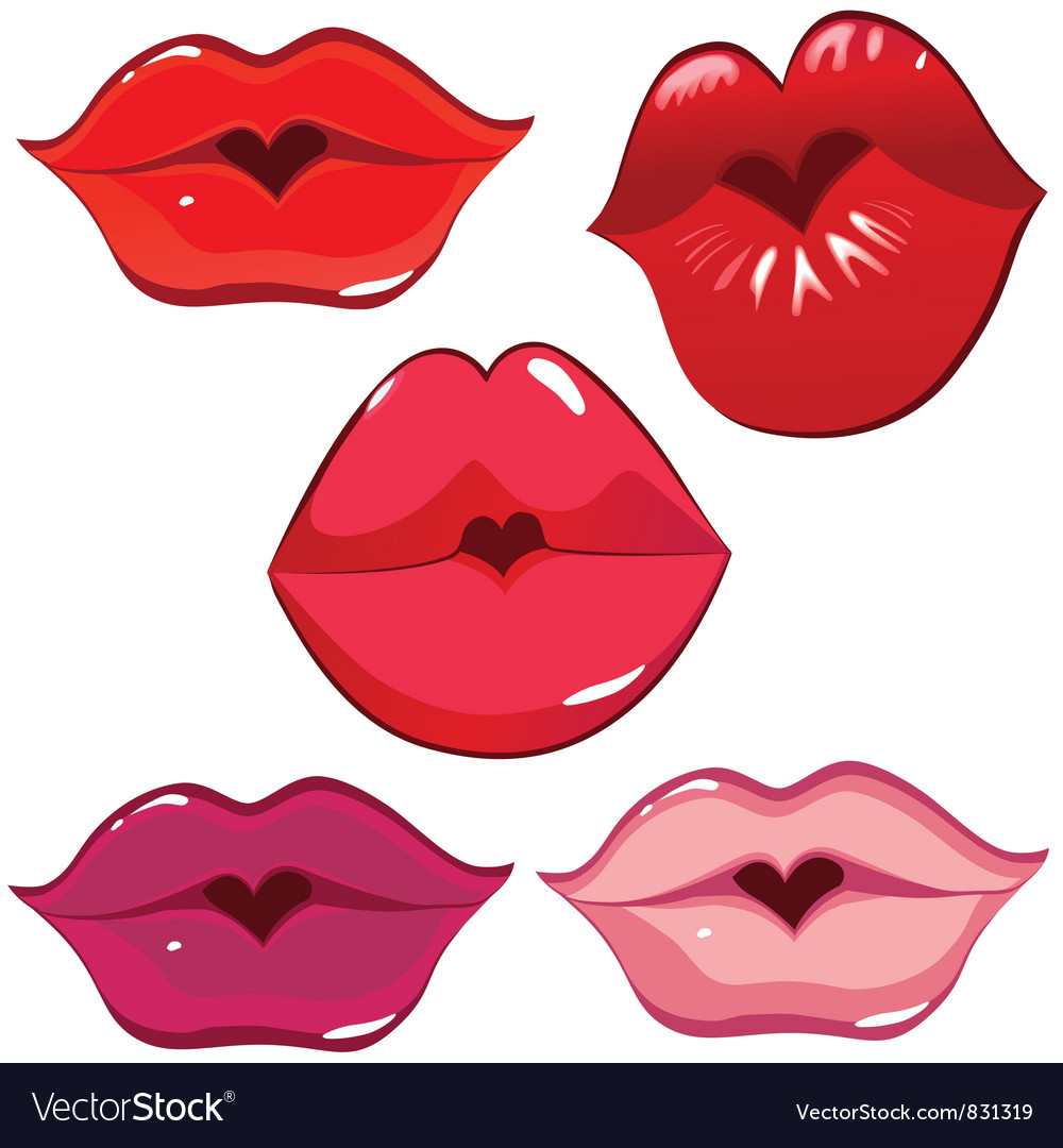 Lip heart red vector | Price: 1 Credit (USD $1)