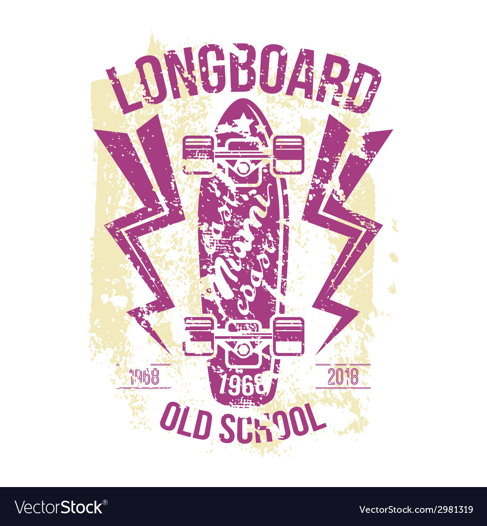 Longboard emblem retro print vector | Price: 1 Credit (USD $1)