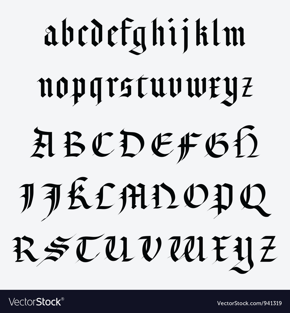 Medieval alphabet vector | Price: 1 Credit (USD $1)