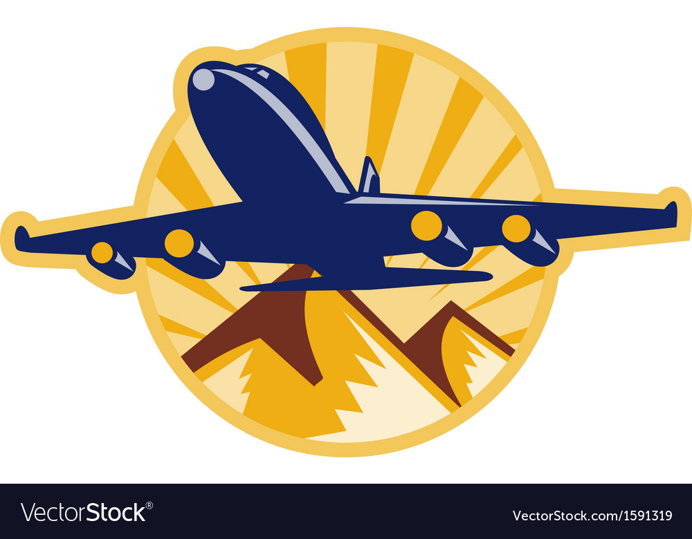 Propeller airplane flying with mountains vector   Price: 1 Credit (USD $1)