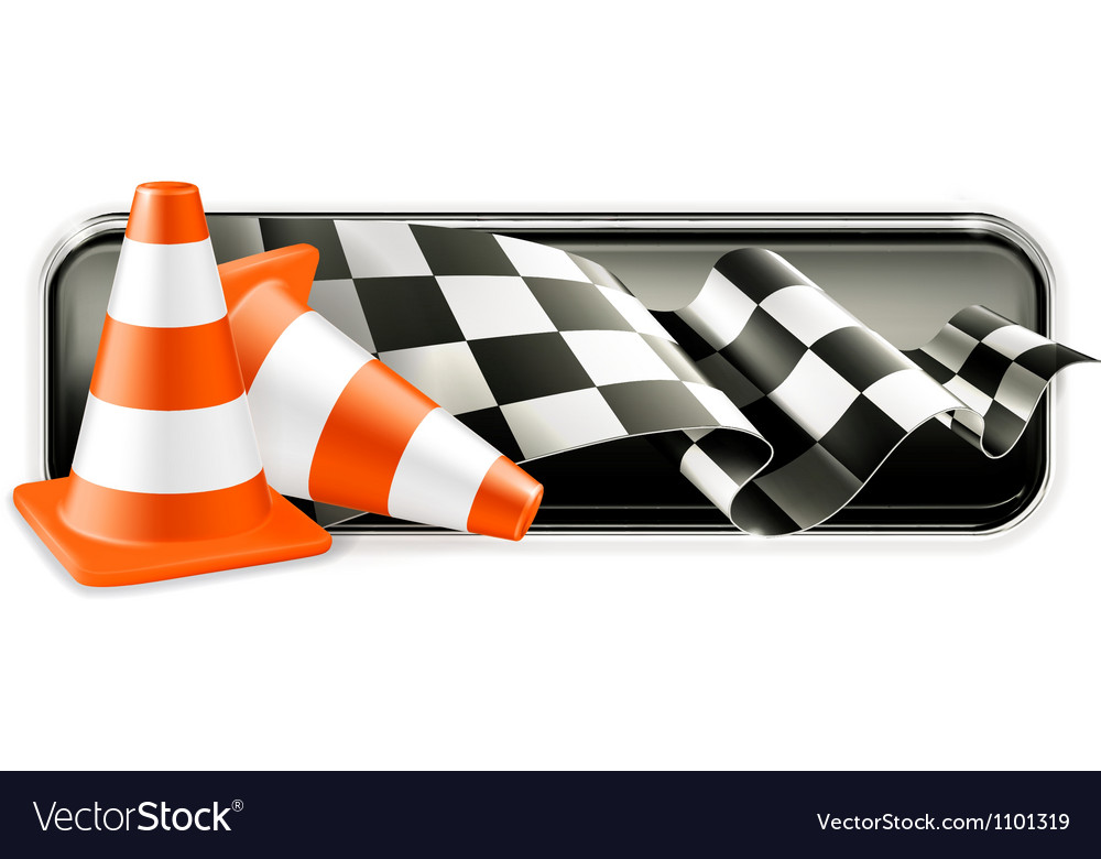 Racing banner with traffic cones vector | Price: 1 Credit (USD $1)