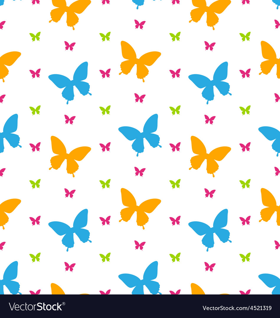 Seamless pattern with colorful butterflies vector | Price: 1 Credit (USD $1)
