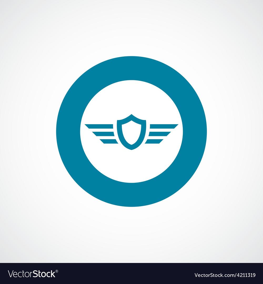 Shield wings icon bold blue circle border vector | Price: 1 Credit (USD $1)