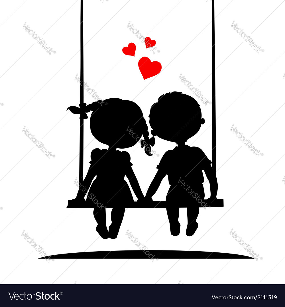Silhouettes of a boy and girl vector | Price: 1 Credit (USD $1)