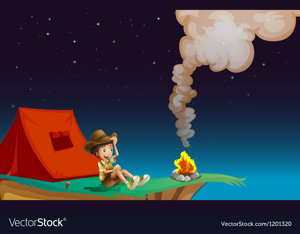 A boy with tent near the cliff vector | Price: 1 Credit (USD $1)