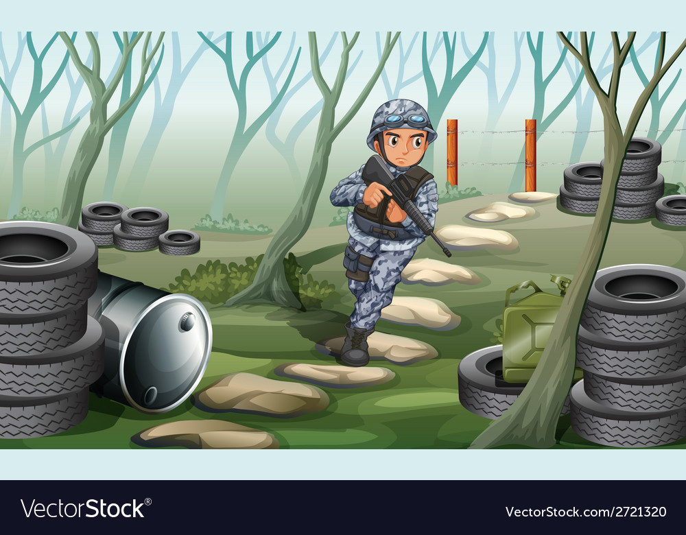 A soldier in the forest vector | Price: 1 Credit (USD $1)