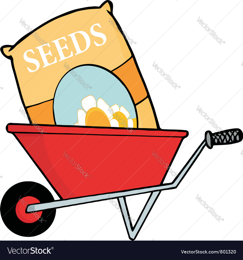 Bag of flower seeds in a wheel barrow vector | Price: 1 Credit (USD $1)