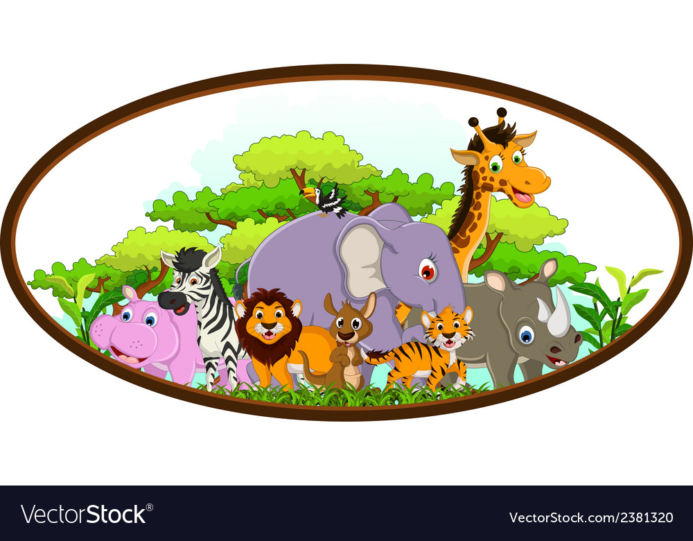 Cute animal cartoon with tropical forest backgroun vector | Price: 1 Credit (USD $1)