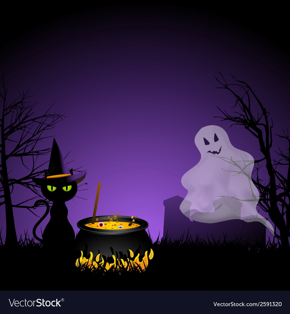 Halloween ghost and black cat with cauldronai vector   Price: 1 Credit (USD $1)