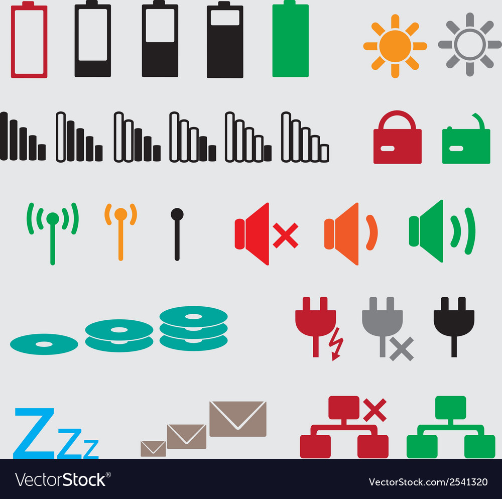 Laptop and pc indication status icons eps10 vector | Price: 1 Credit (USD $1)