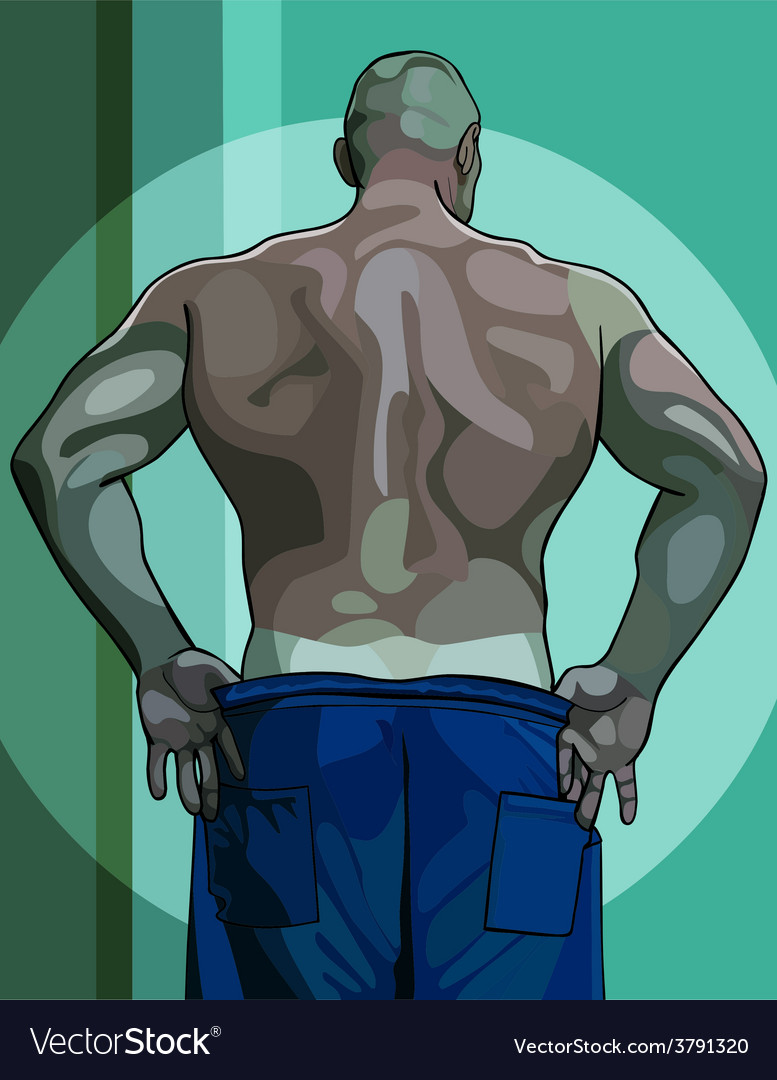Large male athlete view from the back vector | Price: 3 Credit (USD $3)