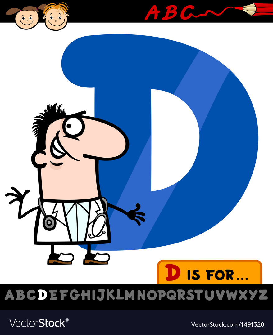 Letter d with doctor cartoon vector | Price: 1 Credit (USD $1)
