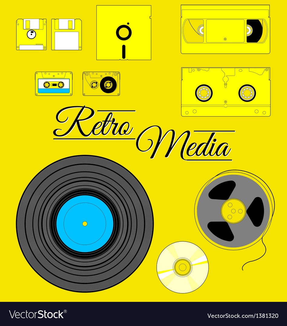 Retro storage medium set vector | Price: 1 Credit (USD $1)