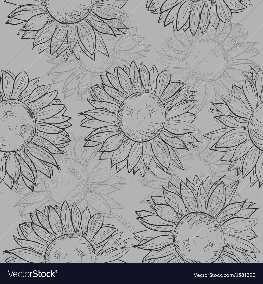 Seamless pattern sunflowers abstract gray black vector | Price: 1 Credit (USD $1)