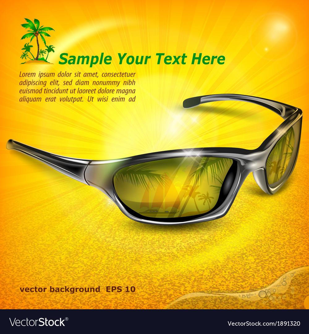Sunglasses with reflection on vector | Price: 1 Credit (USD $1)
