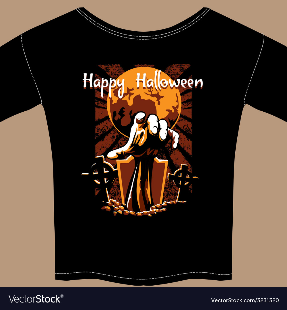 T shirt with halloween zombie graphic vector | Price: 1 Credit (USD $1)