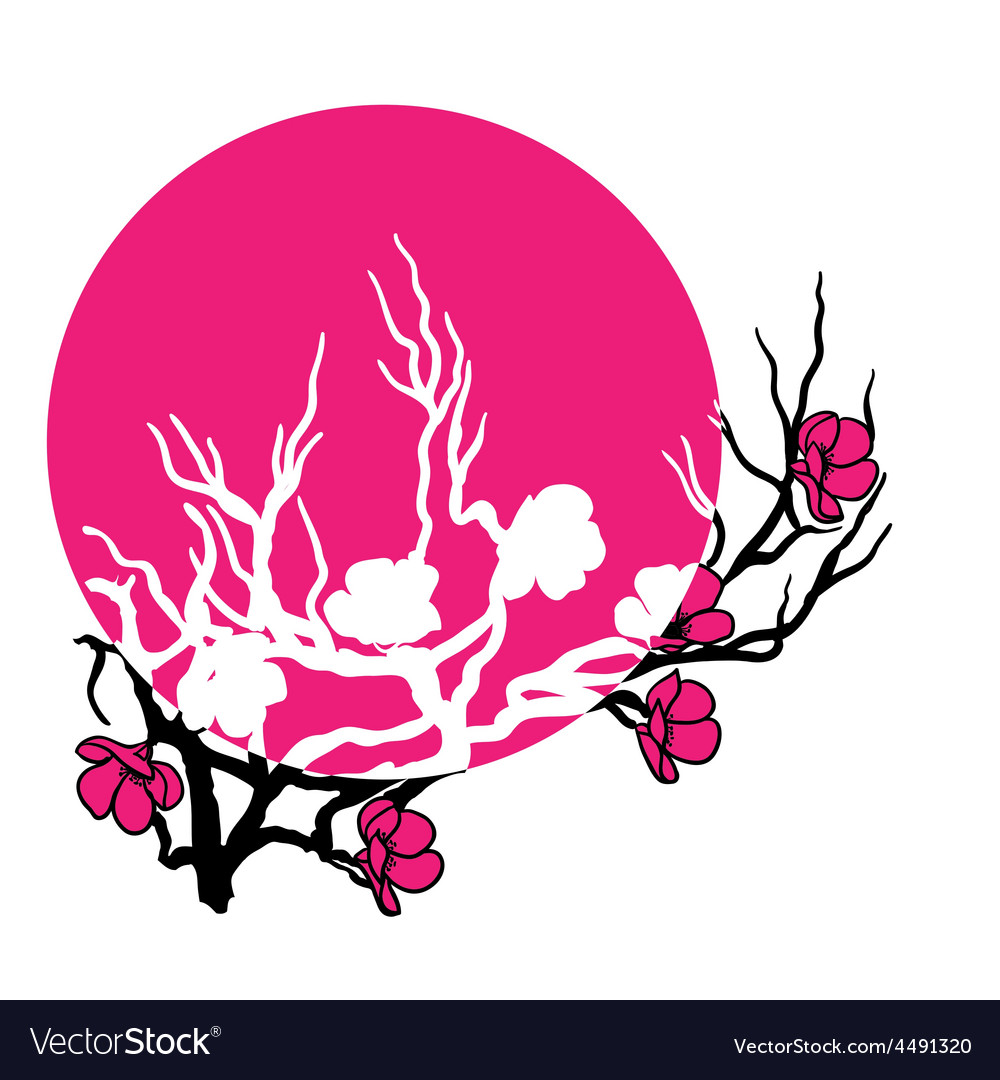 Twig cherry blossoms vector | Price: 1 Credit (USD $1)