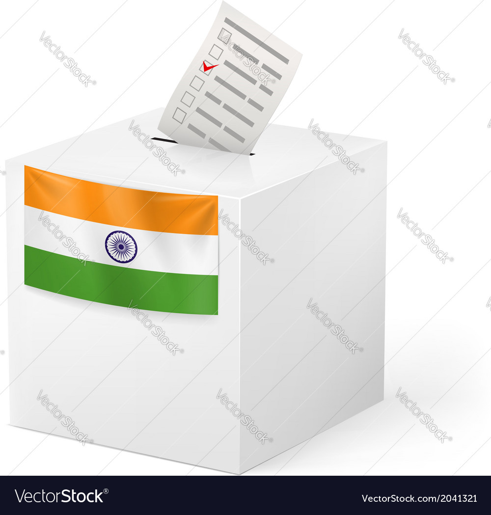 Ballot box with voicing paper india vector | Price: 1 Credit (USD $1)