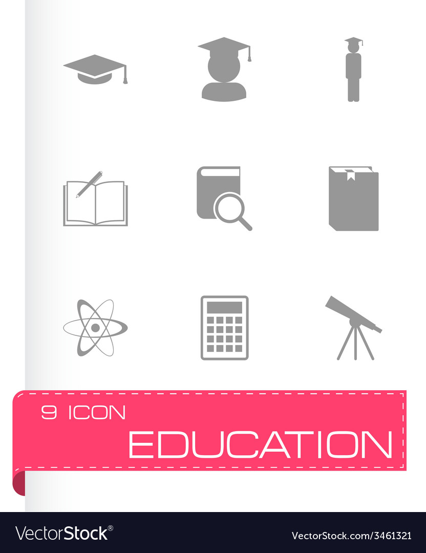 Black education icon set vector | Price: 1 Credit (USD $1)