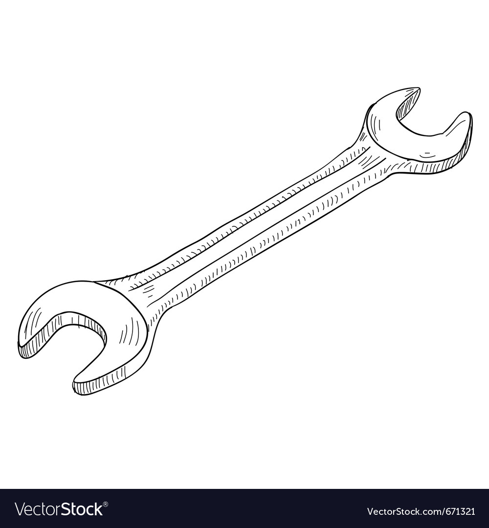 Hand wrench tool or spanner vector | Price: 1 Credit (USD $1)