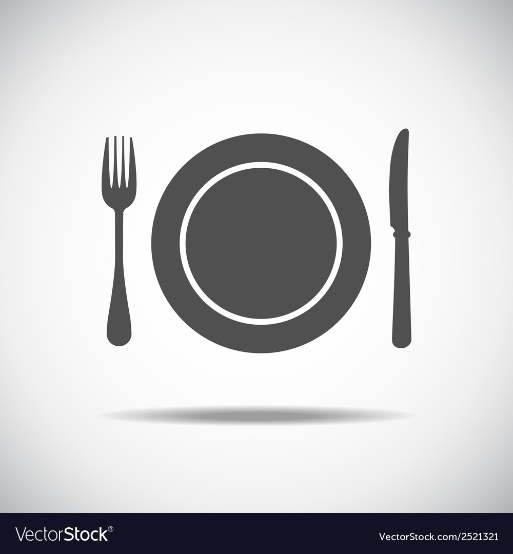 Knife plate fork vector