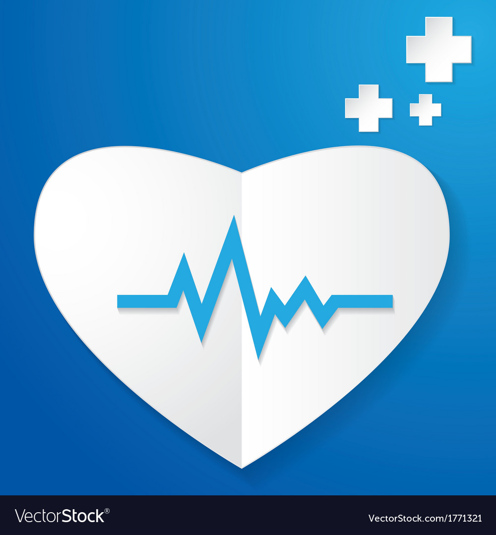 Paper heart and pulse vector | Price: 1 Credit (USD $1)
