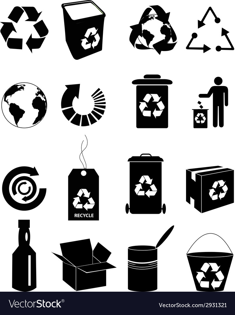 Recycle icons set vector | Price: 1 Credit (USD $1)