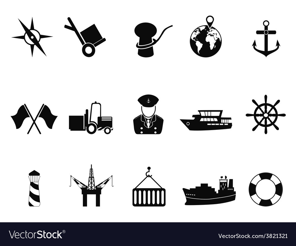 Sea port icons set vector   Price: 1 Credit (USD $1)