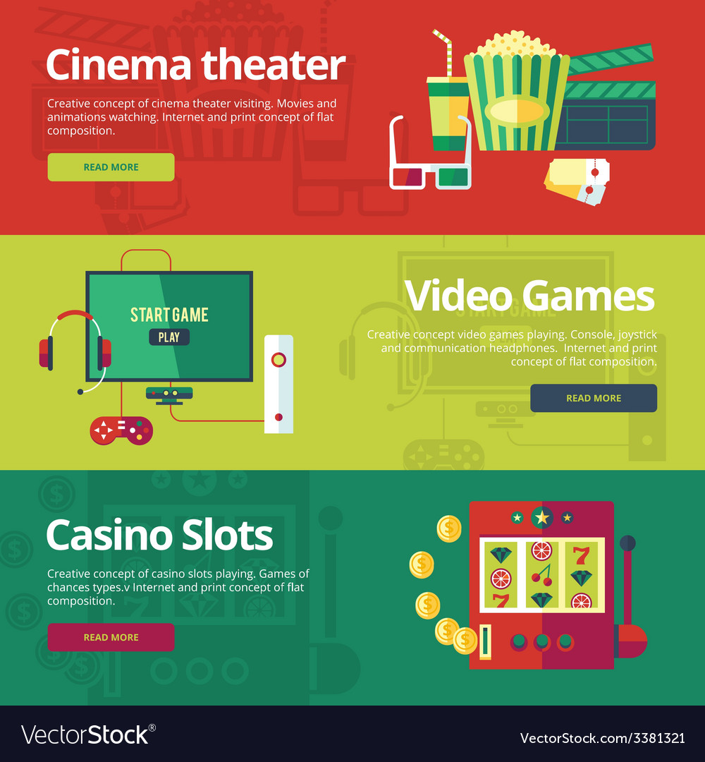 Set of flat design concepts for cinema theater vector | Price: 1 Credit (USD $1)
