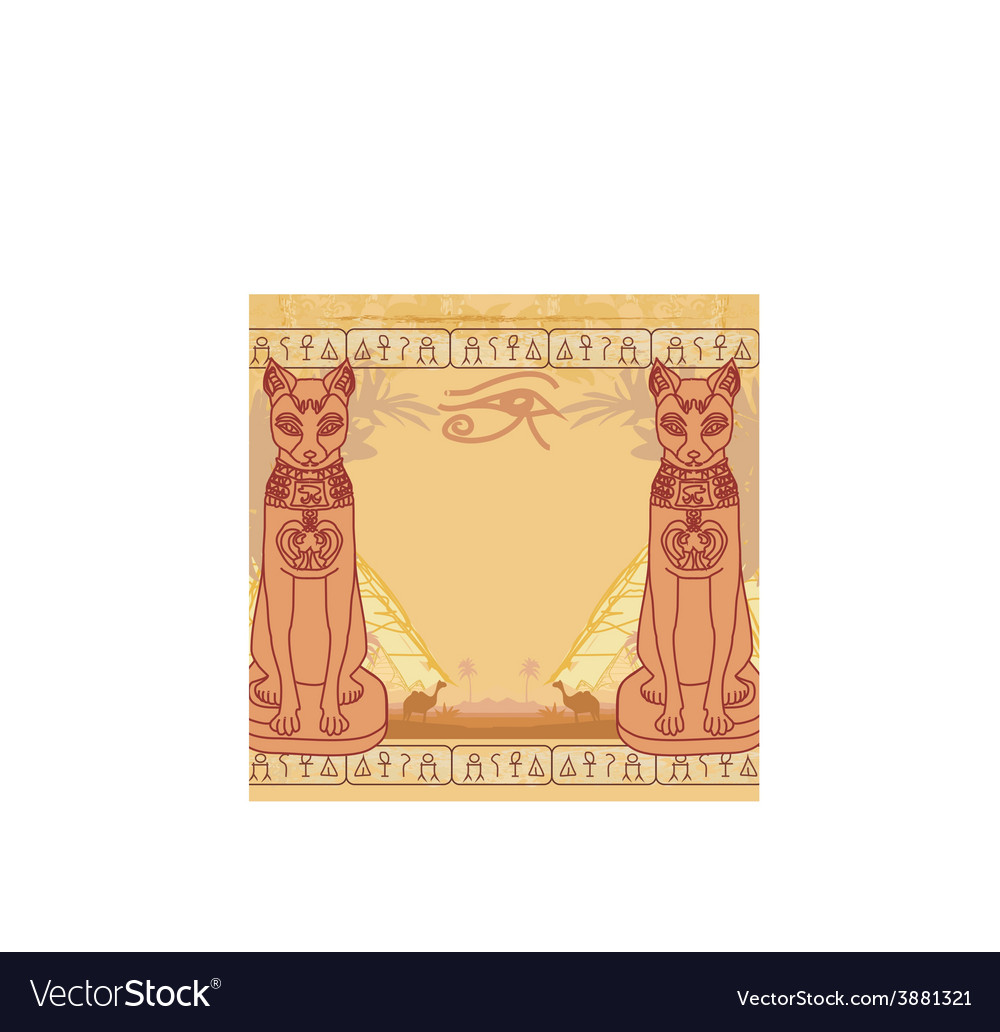Stylized egyptian cat abstract grunge card vector | Price: 1 Credit (USD $1)