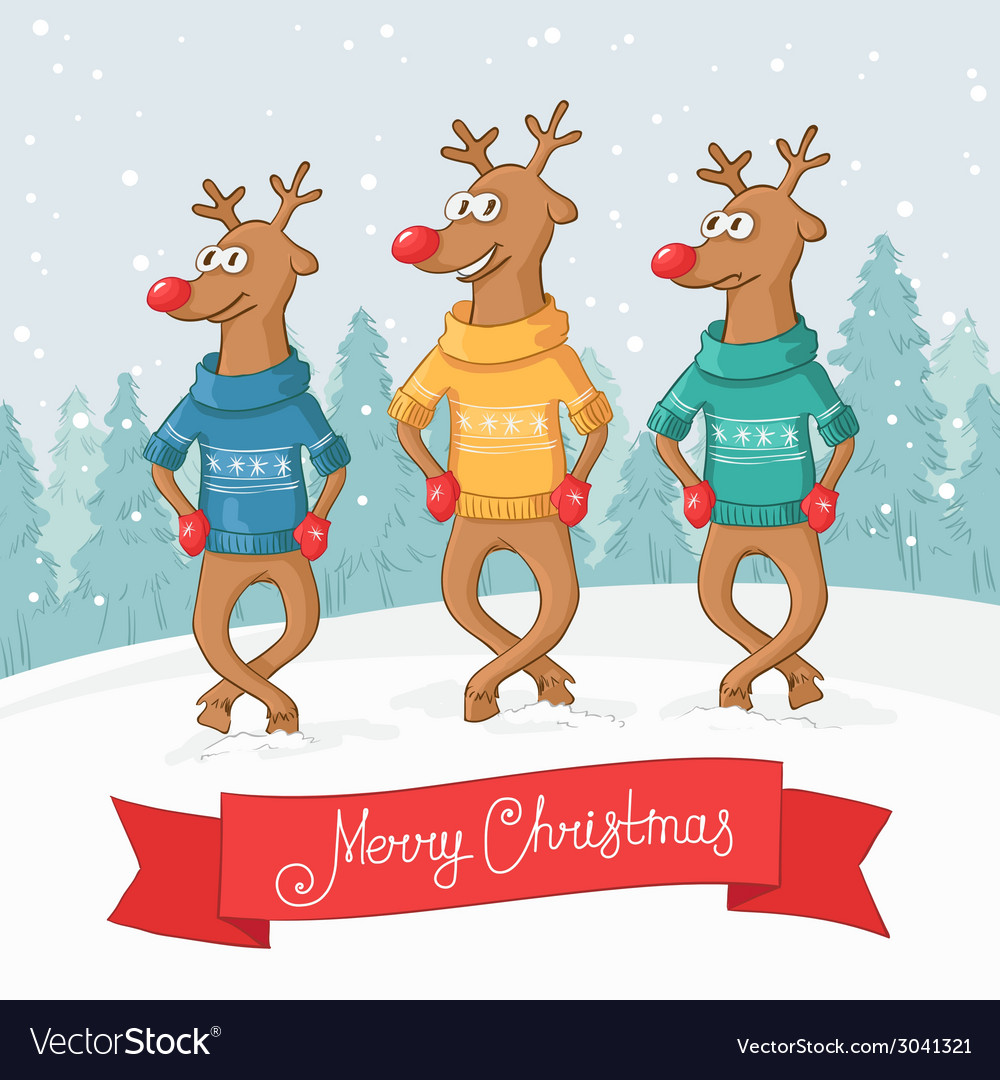 Three deer dance winter forest landscape postcard vector | Price: 1 Credit (USD $1)