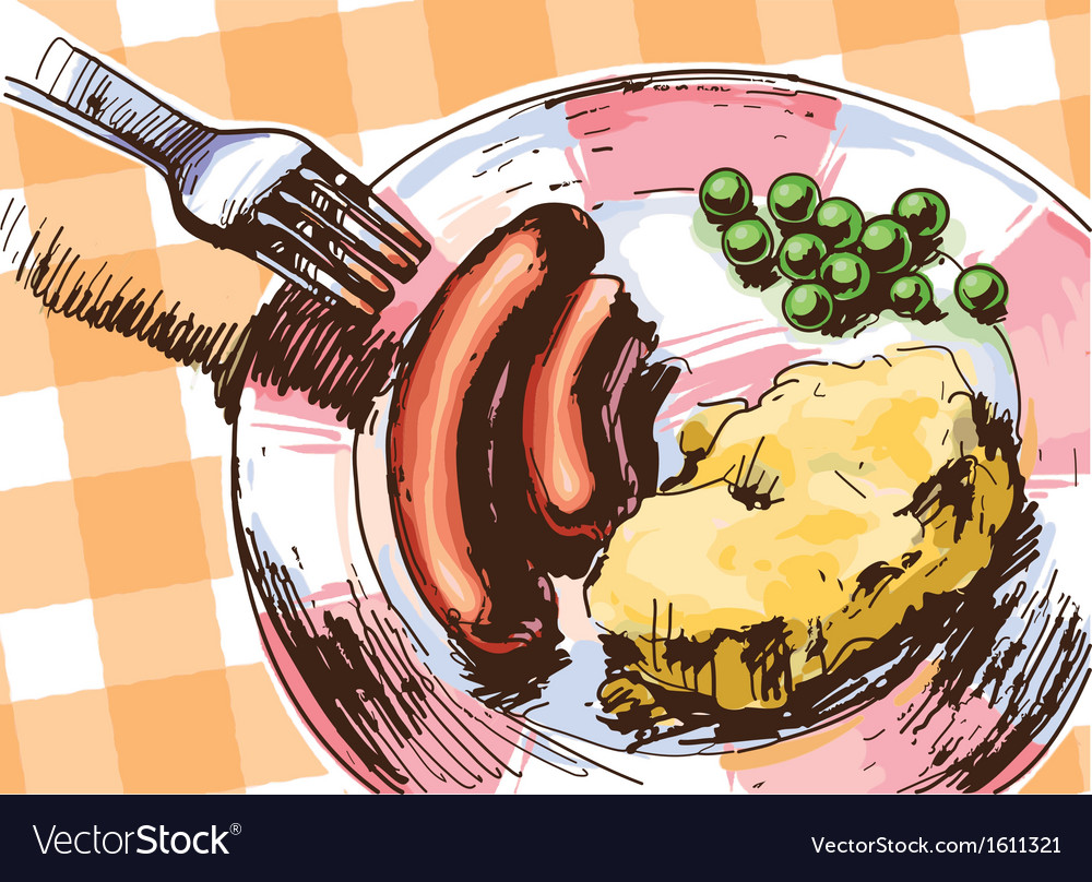 Two sausages for a lunch vector | Price: 3 Credit (USD $3)