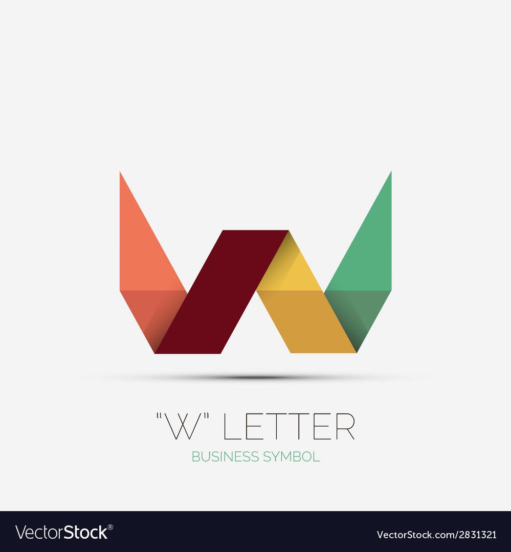 W letter company logo minimal design vector | Price: 1 Credit (USD $1)