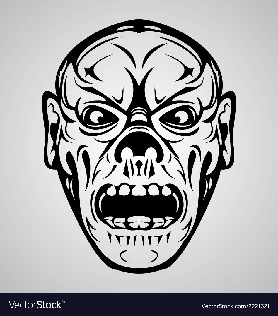Zombie face tribal vector | Price: 1 Credit (USD $1)