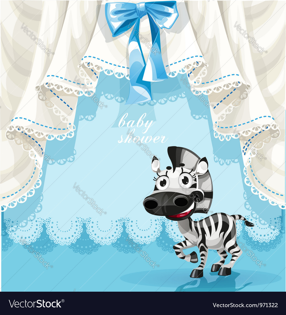 Blue baby shower card with cute little baby zebra vector | Price: 3 Credit (USD $3)