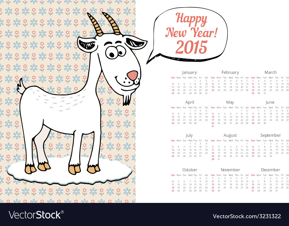 Calendar template 2015 with goat graphic vector   Price: 1 Credit (USD $1)