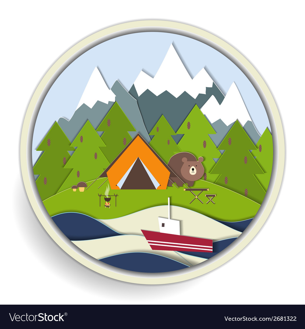 Camping and forest recreation badge vector   Price: 1 Credit (USD $1)