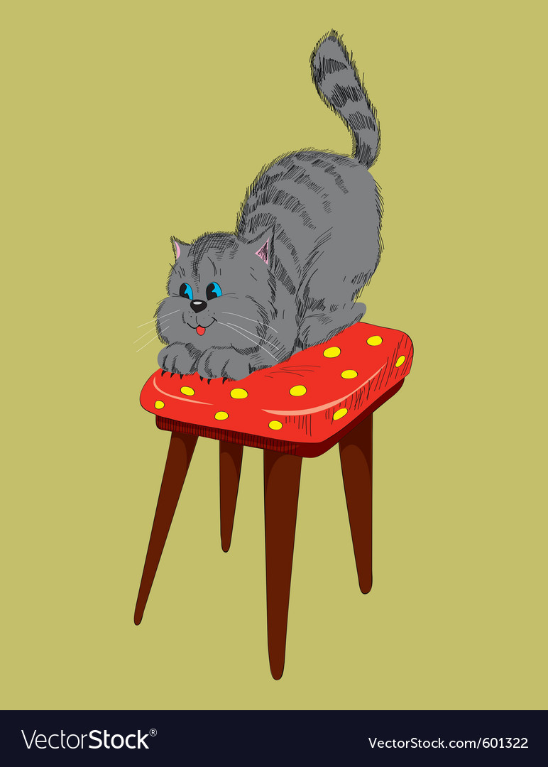 Cat on a chair vector | Price: 1 Credit (USD $1)