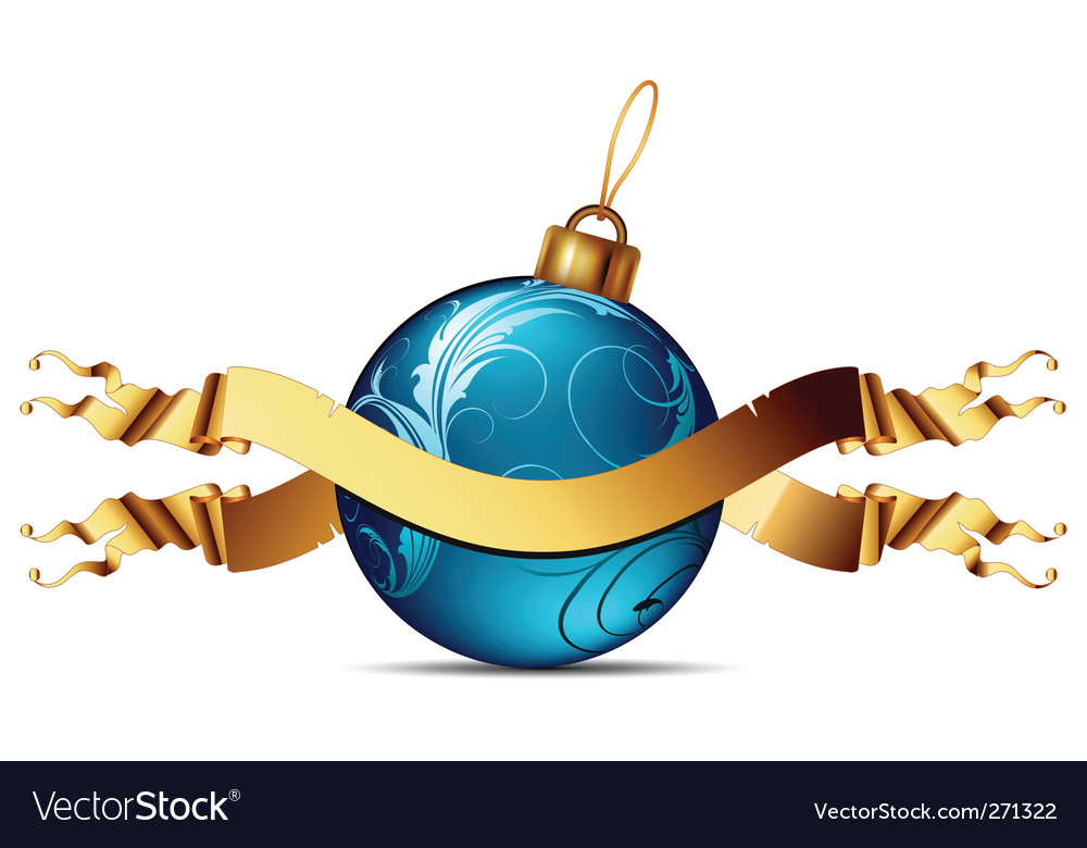 Christmas ball with ribbon vector | Price: 1 Credit (USD $1)