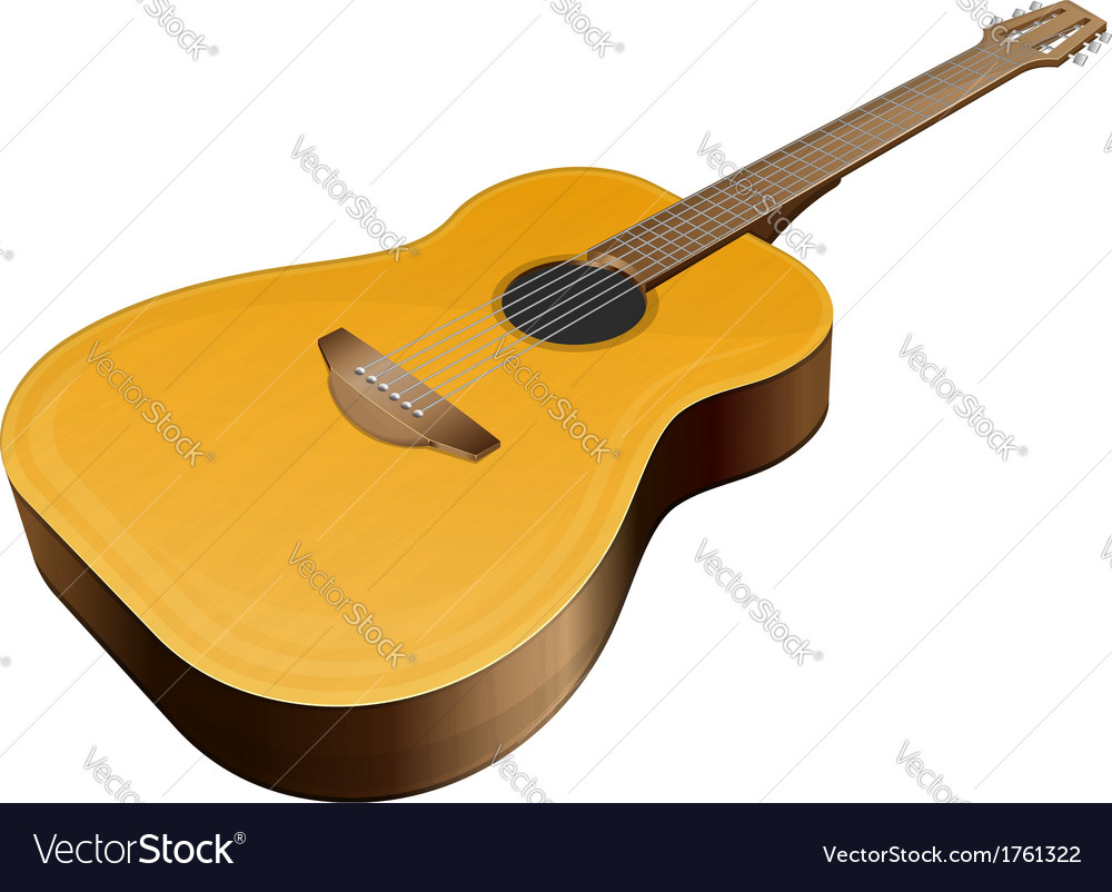 Classical guitar on white background vector | Price: 1 Credit (USD $1)