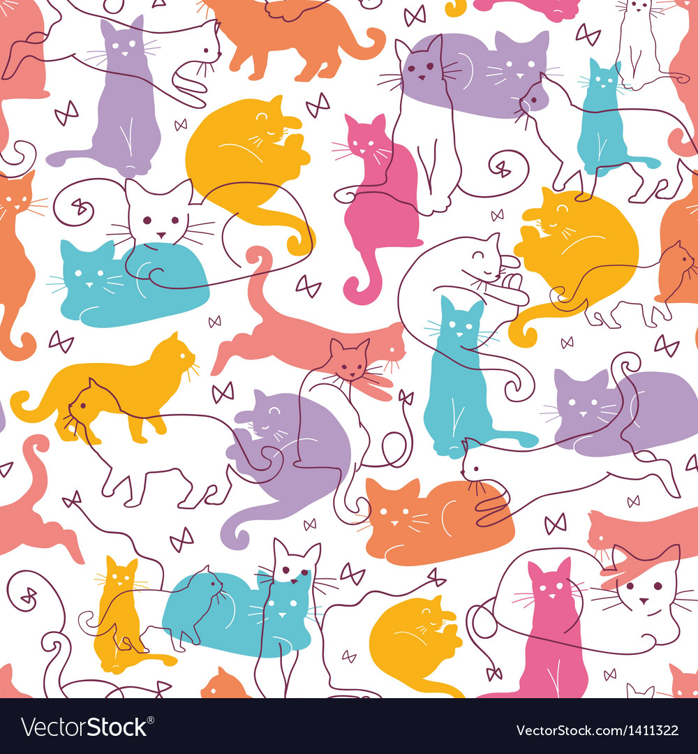 Colorful cats seamless pattern background vector | Price: 1 Credit (USD $1)