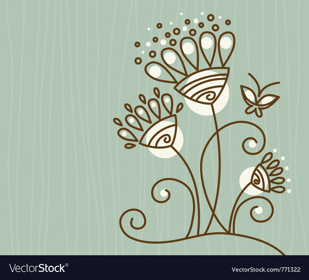 Floral background with butterfly vector   Price: 1 Credit (USD $1)