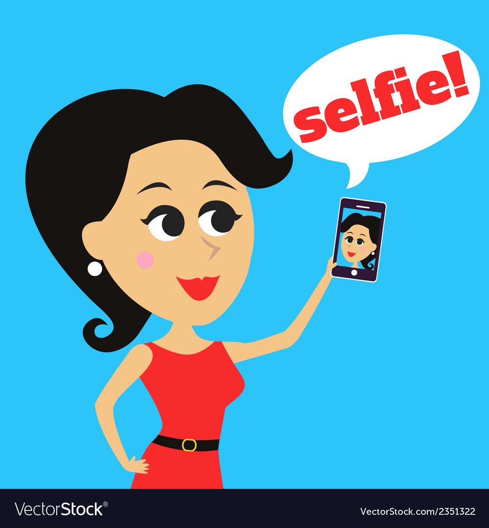 Girl makes selfie vector   Price: 1 Credit (USD $1)