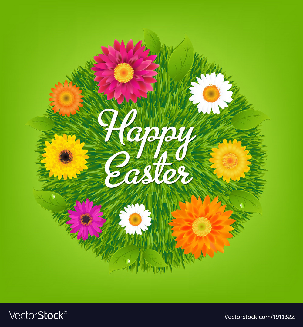 Happy easter ball with flowers vector | Price: 1 Credit (USD $1)