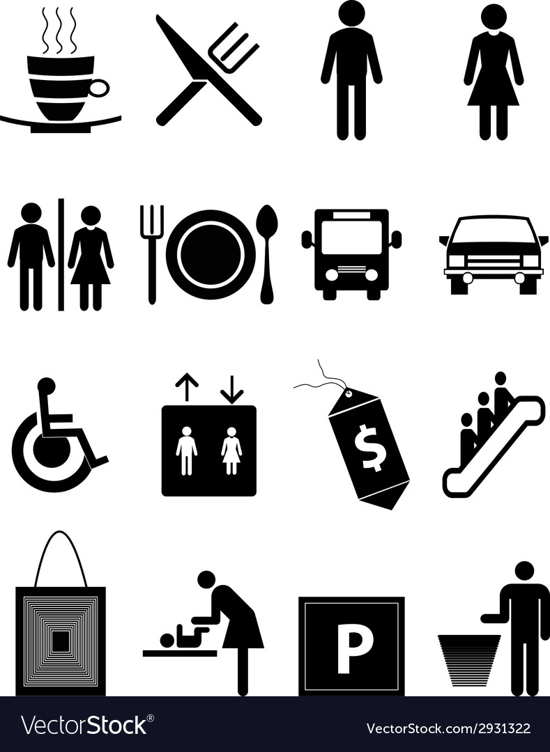 Hotel and restaurant icons set vector | Price: 1 Credit (USD $1)